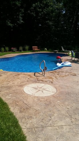 Fractured Earth, compass, pool deck