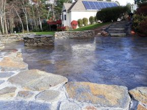 Fractured Earth Patio with Goshen Stone walls, stairs and fire pit